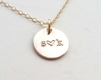 Gold Forever Love Necklace handstamped heart initial necklace