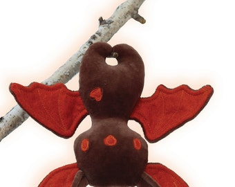 Halloween Bat Sewing Pattern and Tutorial style Instructions Stuffed Animal Bat PDF pattern with flexible wings