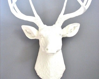 WHITE Deer Head Faux Taxidermy Wall Mount Wall Hanging :  Deerman the Deer Head in WHITE nursery wall decor / office  farm house decor  gift