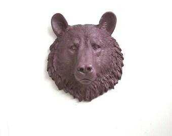 MAUVE Small Faux Taxidermy Bear Animal Head home decor kids room decor wall hanging: Bob the small bear in mauve // woodland // mini // fake