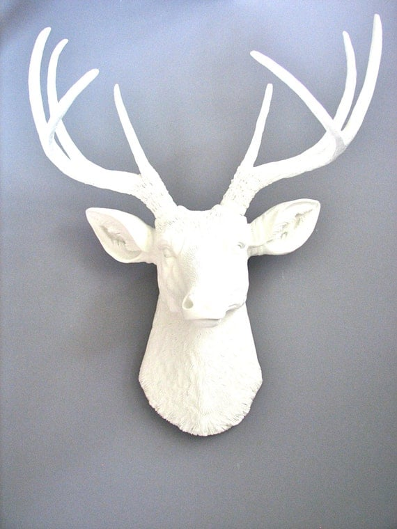 Faux Taxidermy Deer Head Wall Mount Wall Hanging Home Decor:  Deerman the Deer Head in modern, crisp white