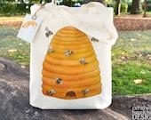 Bee Hive Tote Bag, Ethically Produced Reusable Shopper Bag, Cotton Tote, Shopping Bag, Eco Tote Bag
