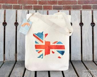 Union Jack Corgi Tote Bag, Ethically Produced Reusable Shopper Bag, Cotton Tote, Shopping Bag, Eco Tote Bag