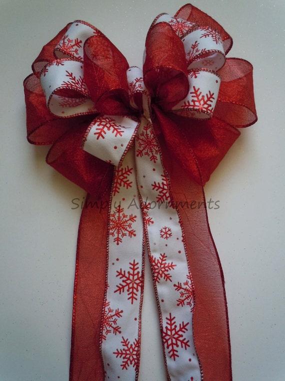 Snowflakes Christmas Wreath Bow Red White Snowflakes Winter Wedding Pew Bow Christmas Teardrop Swag Bow Red Snowflakes tree bow Door bow