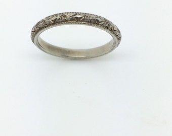 Engraved Wedding Band - 18K White Gold Floral Stacking Ring