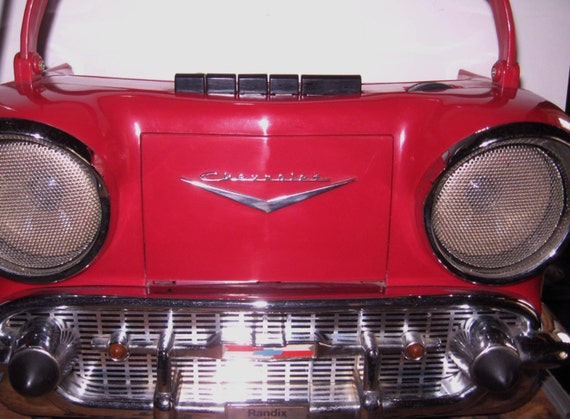sale randix red 1957 chevy am fm radio cassette player. Black Bedroom Furniture Sets. Home Design Ideas