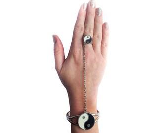 Sterling Silver Yin Yang Slave Ring & Bracelet