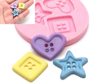 Button Mould Flexible Silicone Mold for Crafts Jewelry Scrapbooking resin pmc polymer clay Food Safe 407L* BEST QUALITY