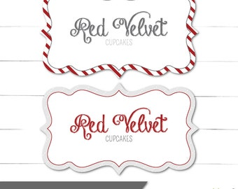 Christmas Jar Labels - Food Tags - Scalloped Cards - Candy Buffet Labels - Merry and Bright Collection - Instant Download