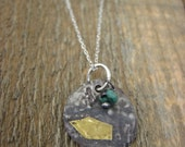 Silver and Gold Bohemian Necklace- Keum Boo etched boho design