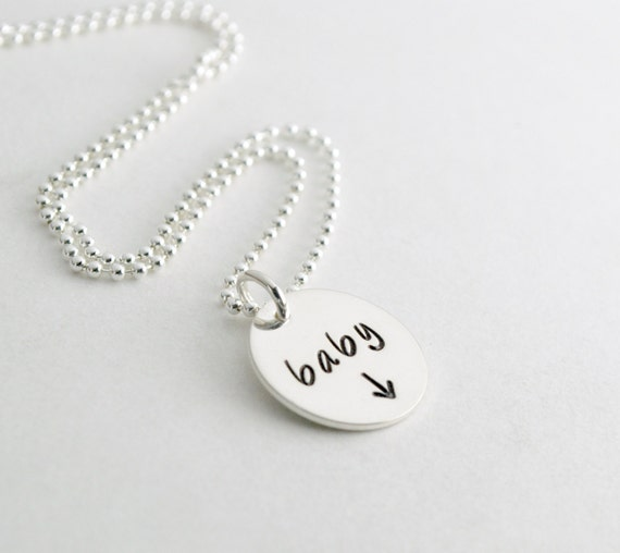 Pregnancy Announcement Gift - Mom to Be Gift Expectant Mother Baby Pregnancy Necklace Custom Hand Stamped Sterling Silver