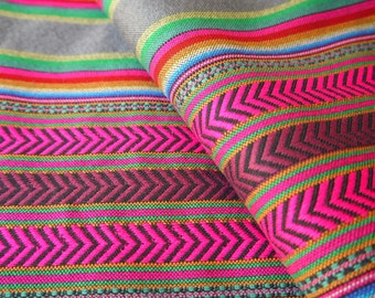 South American Fabric, Peruvian Fabric, Woven, Pink Arrows, 1 Yard