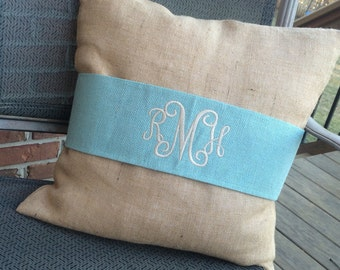 Monogram Natural Burlap Pillow Cover and French Blue Pillow Wrap  Font shown INTERLOCKING in ivory