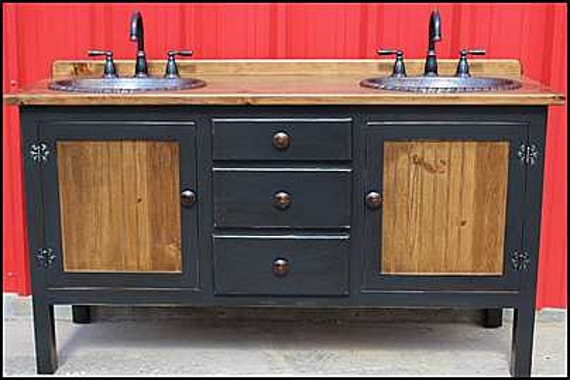 "Rustic Farmhouse Vanity - Double Bathroom Vanity - FH1296-62D - Bathroom Vanity with sink - Copper Sink - 62"" - Rustic Bathroom Vanity Black"