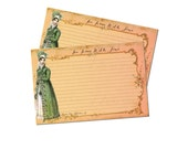 Cottage Chic Jane Austen Recipe Cards, Regency Fashion, Bridal Shower Recipe Cards, Pale Pink, Jane Austen Gift, 4x6 Recipe Cards, Set of 12