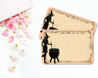 Romantic Witch Recipe Cards, Cottage Chic, Halloween Bridal Recipe Cards, Pagan Recipe Card Set, Pale Pink, Spells Potions Cards, Set of 12