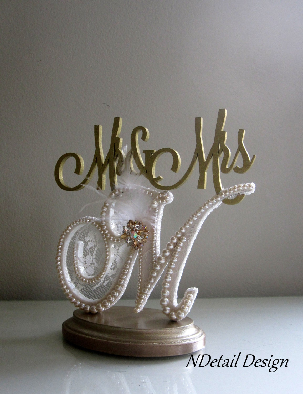 Wedding Cake Toppers Letter M : Wedding Cake Topper Monogram Letter M Mr&Mrs by NDetailDesign