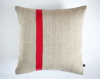 Decorative pillow cover, red line pillow, Color block red accent  pillow, window seat cushion, colorblock, window cushion, linen pillow 0371