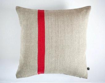 Decorative pillow cover - red line pillow - Color block red accent  pillow- Linen cushion case/Natural linen pillow/ pillows 0371
