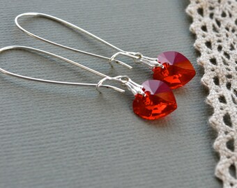 Red Swarovski Earrings, Red Heart Earrings, Long Red Earrings, Red Crystal Earrings, Crystal Heart Earrings, Red Jewelry, Wife Gift for Her