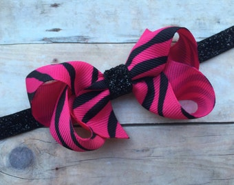 Pink & black zebra boutique bow on black glitter headband - zebra baby headband, black headband, black headband