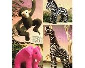 Vogue Craft Stuffed Jungle Animals: Giraffe, Monkey, Zebra & Elephant, Toy Animal, Nursery Child's Room, Gift Idea, Vogue V8349, Uncut