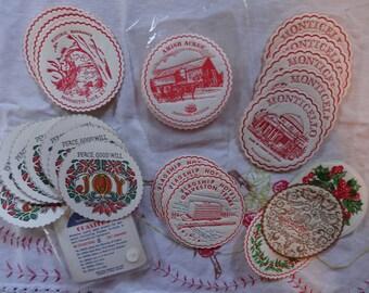 Vintage Paper Cocktail Coasters | Mid Century Barware | Drink Coasters | Travel Souvenirs | Christmas Decor