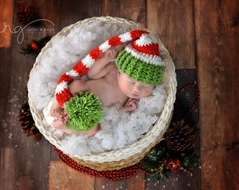 Crochet Newborn Elf Christmas Stocking Hat