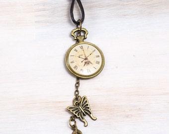 Eiffel Tower Clock Necklace, Steampunk Antique Brass Necklace, Eiffel Tower pendant, Paris