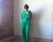 solid green blouse jumpsuit/ button down/ short sleeves// med.large