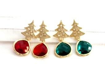 Christmas Tree Earrings, Tree Earrings, Emerald Stud Earrings ,Drop, Dangle, Glass, bridesmaid gifts,Wedding jewelry, Cristmas gift