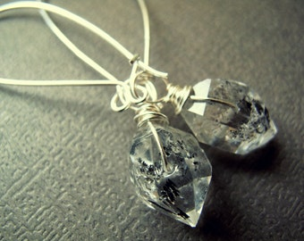 Herkimer Diamond Earrings - Raw Crystal Earrings - Herkimer Diamond Jewelry - Raw Quartz Earrings - Sterling Silver Quartz Earrings