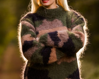 Made to order Hand knitted mohair sweater in camouflage pattern by SuperTanya