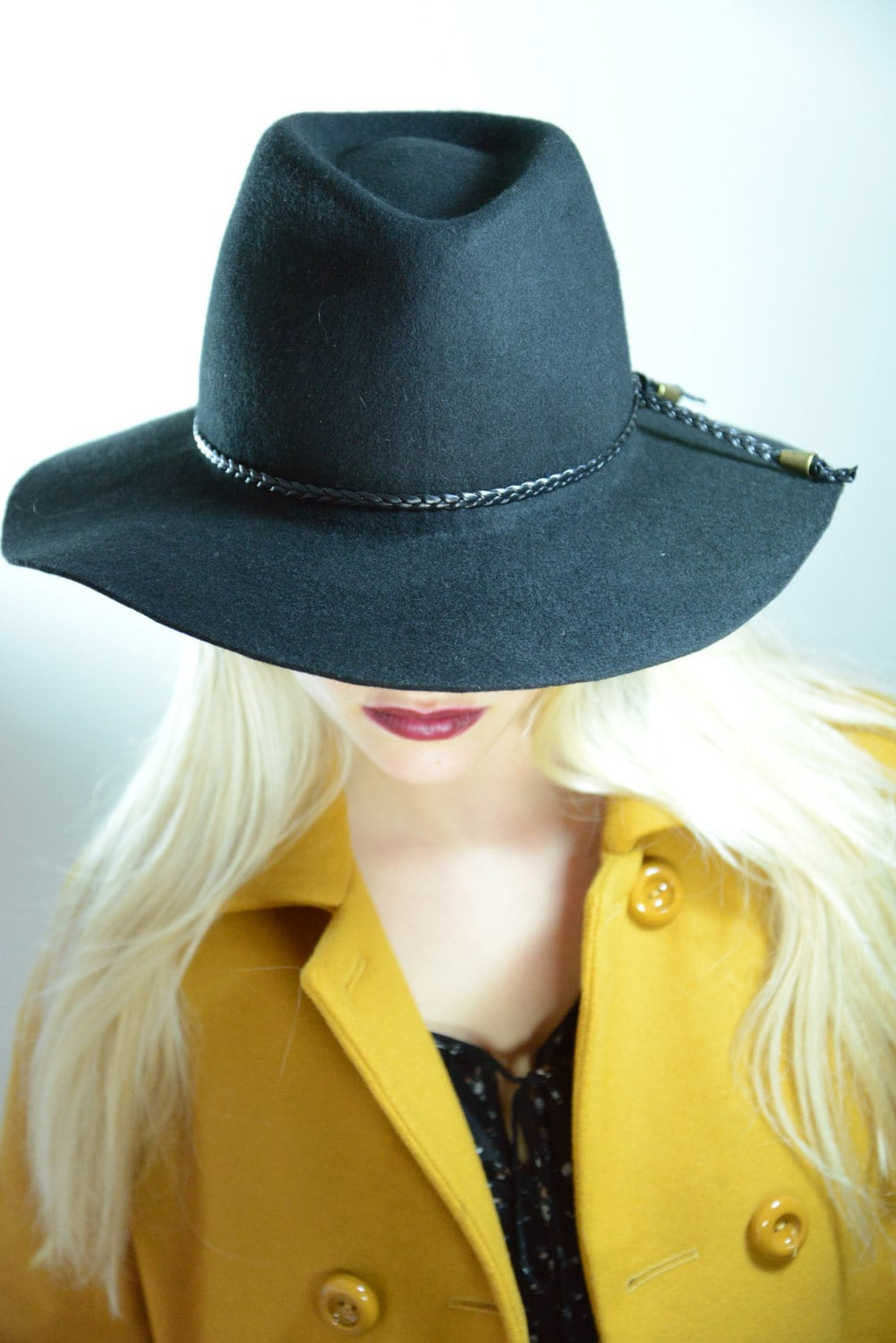 winter sale floppy fedora hat black fedora womens hat