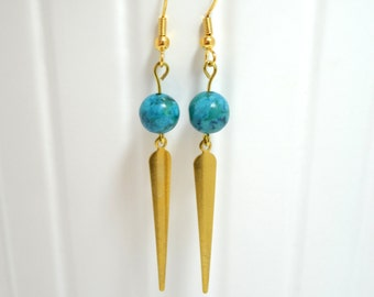 Blue Stone Bead Earrings with Gold-tone Spikes