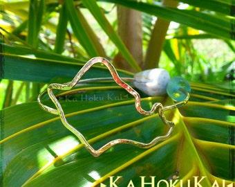 Oahu Island Shape Bangle Sterling Silver, Hawaii Bangle