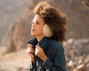 Hiking gift Woman Earmuff -Beige Wool Crochet Earwarmer