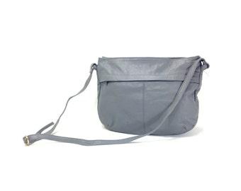 Gray Leather Bucket Bag - Gray Leather Hobo Bag - Large Leather Sling Bag - Minimal Leather Bucket Bag