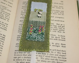 Embroidered Felt Bookmark - Sheep in landscape with Foxgloves stitched by Lynwoodcrafts