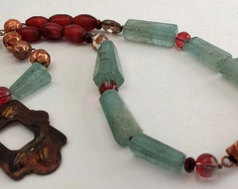 Crimson Leaf Necklace - aquamarine copper magenta - leaf design - antique Venetian beads