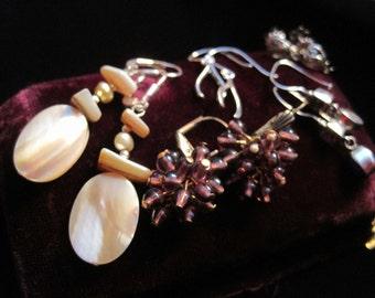 Sterling Earring Lot Vintage Earrings 925 Jewelry Dangling Mother of Pearl Glass Lapis Lazuli Wear Craft Destash Resell Repurpose