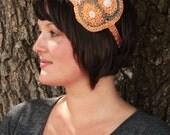 Crochet Peach Retro Headband with Buttons