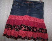 Hag Rags.....Upcycled Jean Skirt......Hydraulic.....size 7/8....