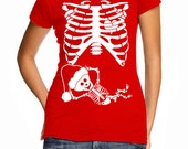 Pregnant Santa Baby Skeleton Rib Cage T-Shirt Funny Pregnancy Costume Baby Shower Party Christmas XMas Humor Gag Gift Tee Shirt Tshirt S-5XL