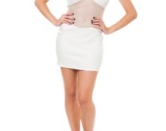 1980s Vintage White Hot Sheer Body Con Dress   Size: S/M