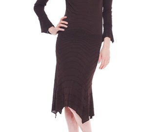 1990-1994 Chocolate Brown Yves Saint Laurent Delicate Dress  Size: S/M