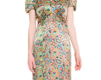 1930s Vintage Colorful Paisley Print Dress  Size: S/M