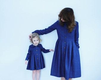 Passende Mutter und Tochter Kleider - Vintage-Denim-Kleid - Blue Denim Kleider - Doppel-Kragen Kleider - Handarbeit aus