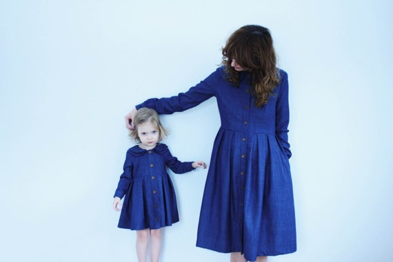 Matching Mother and Daughter Dresses - Vintage Denim Dresses - Blue Denim Dresses - Double Collar Dresses - Handmade by OFFON