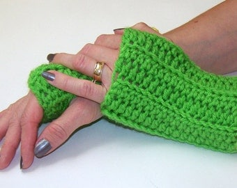 Short Fingerless Gloves, Arm Warmers, Hand Warmers,  Bright Green With Yellow Trim